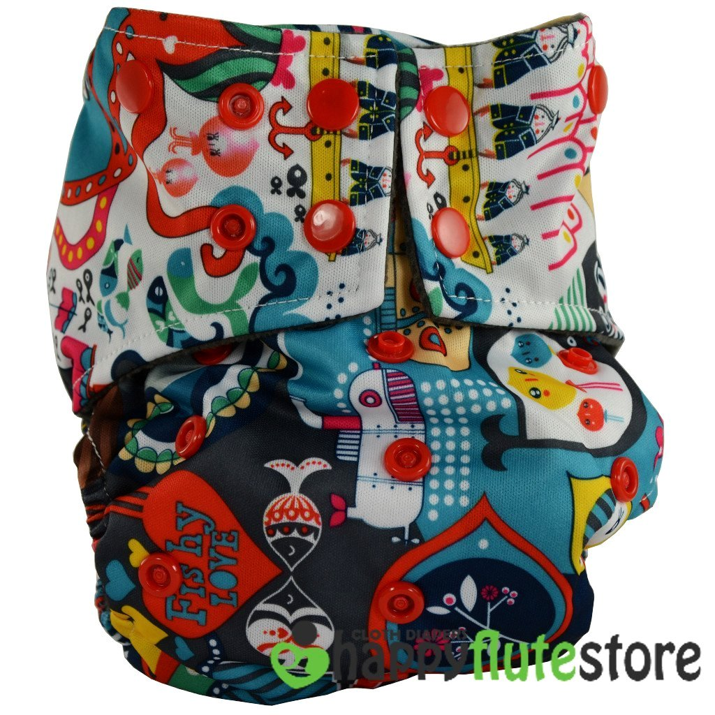 Happy Flute All in One Cotton Bamboo Cloth Diaper - Ahoy