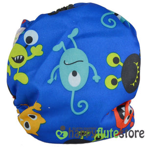 Happy Flute Heavy Wetter Cloth Diaper- Aliens (back)