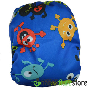 Happy Flute All in One Charcoal Bamboo Cloth Diaper - Aliens (back)