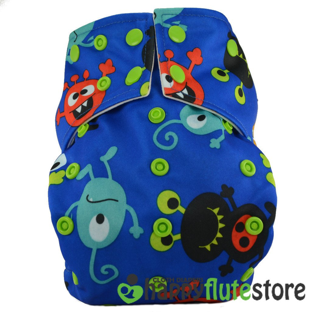 Happy Flute All in One Cotton Bamboo Cloth Diaper - Aliens