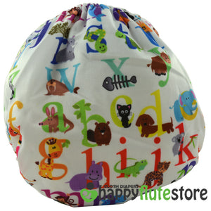Happy Flute Pocket Cloth Diaper - Alphabet Animals (back)