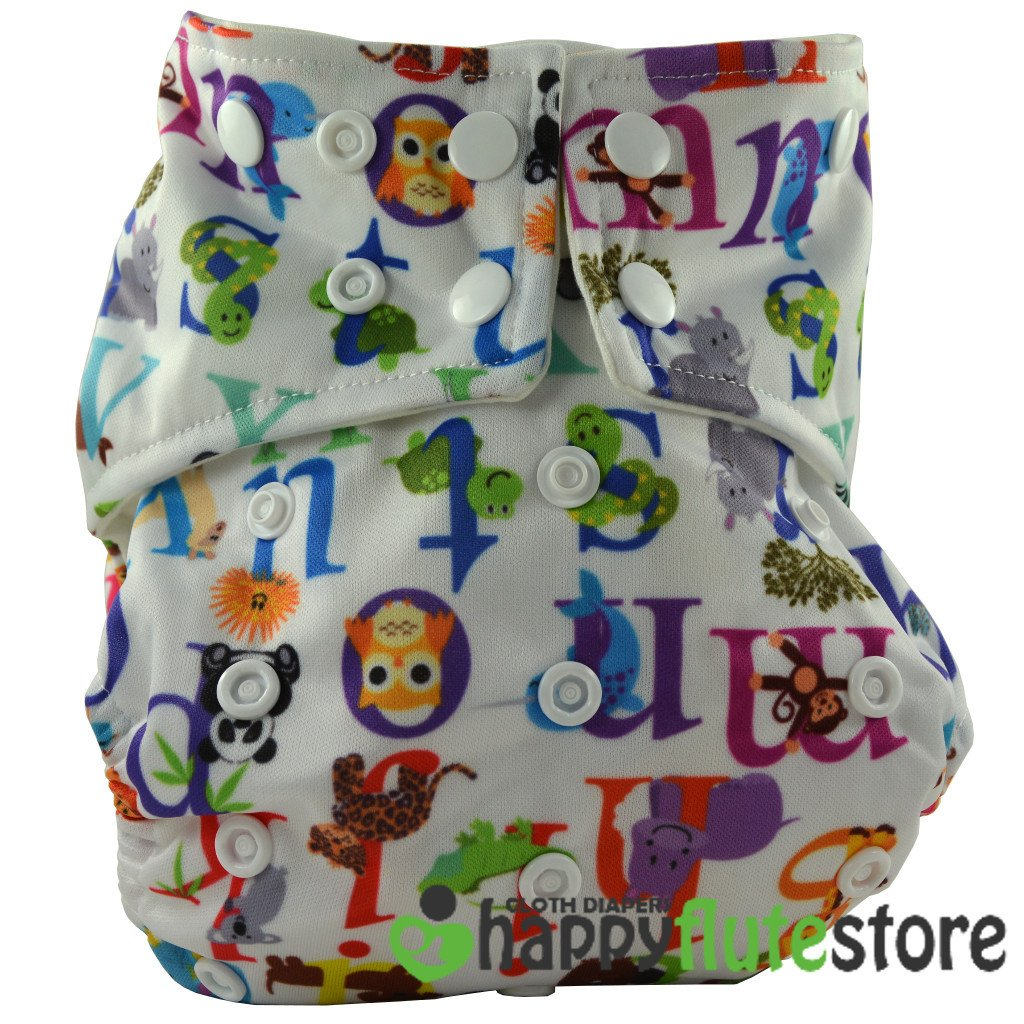 Happy Flute All in One Cotton Bamboo Cloth Diaper - Alphabet Animals