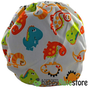Happy Flute All in One Charcoal Bamboo Cloth Diaper - Baby Dinos (back)