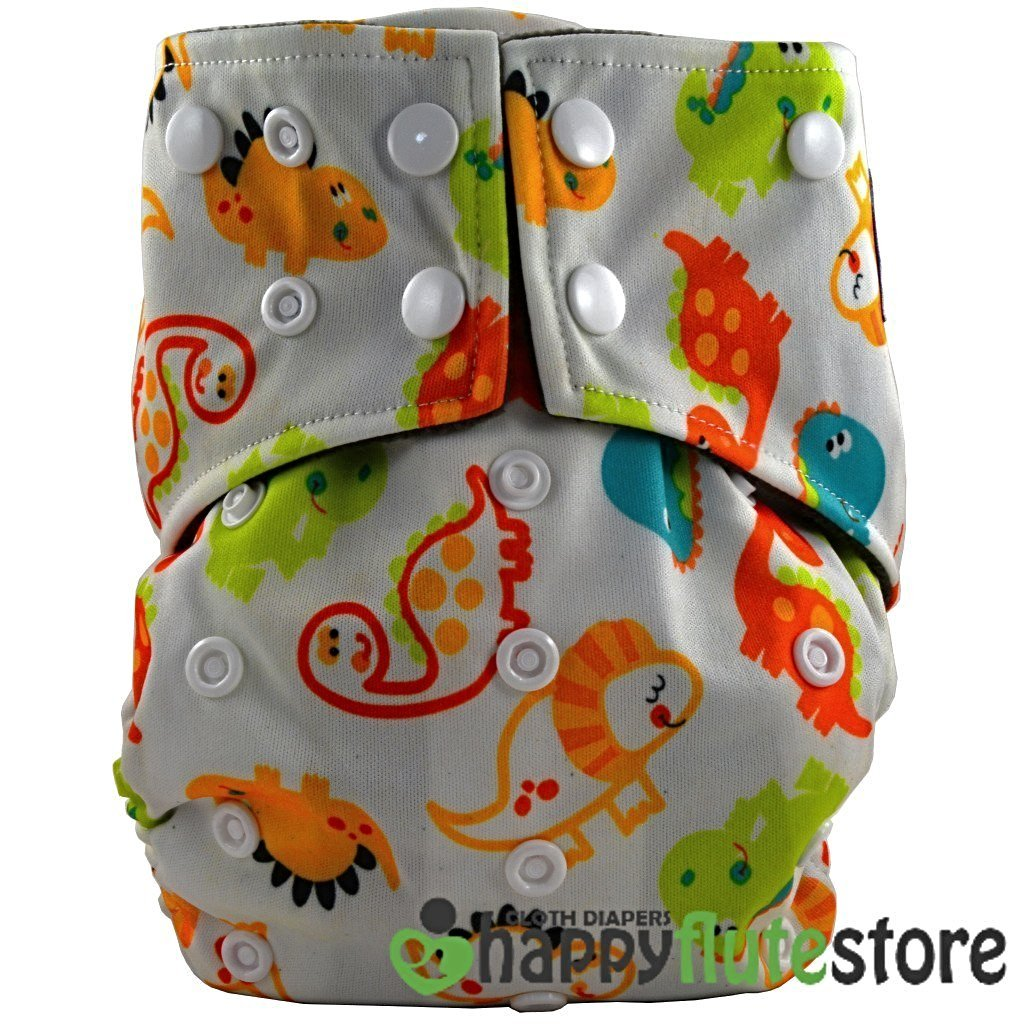 Happy Flute All in One Cotton Bamboo Cloth Diaper - Baby Dinos