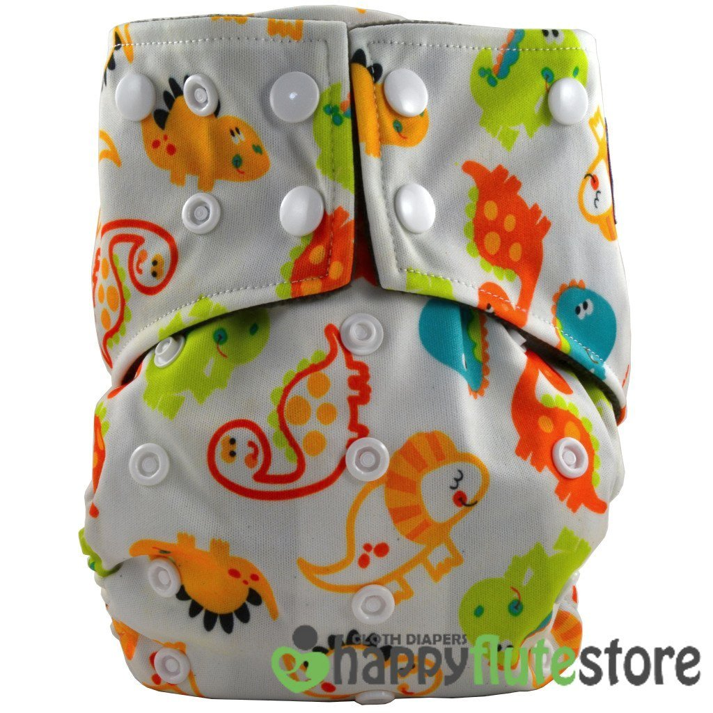 Happy Flute All in One Cotton Hemp Cloth Diaper - Baby Dinos