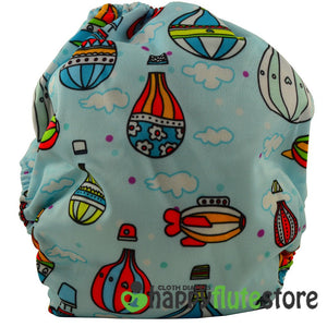 Happy Flute All in One Charcoal Bamboo Cloth Diaper - Balloons (back)
