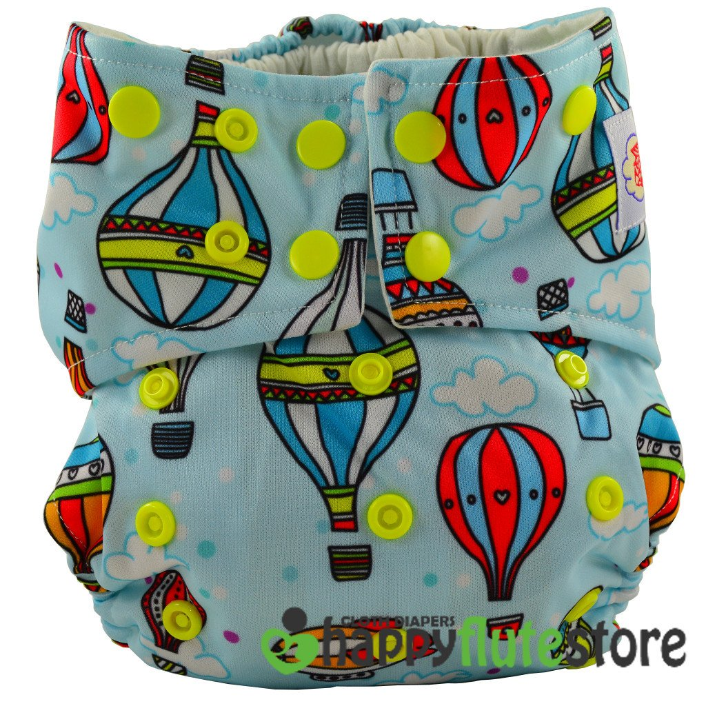 Happy Flute All in One Charcoal Bamboo Cloth Diaper - Balloons