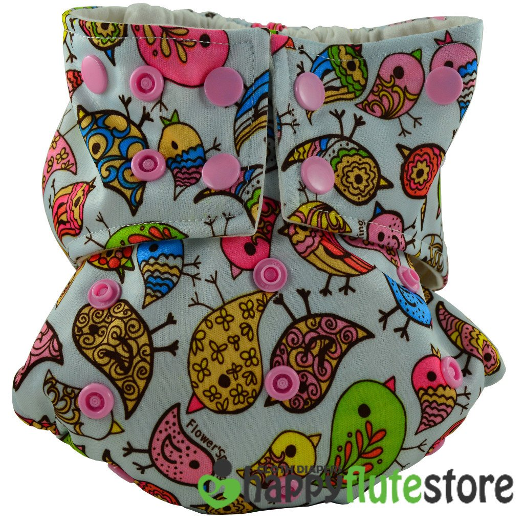 Happy Flute All in One Cotton Bamboo Cloth Diaper - Birds