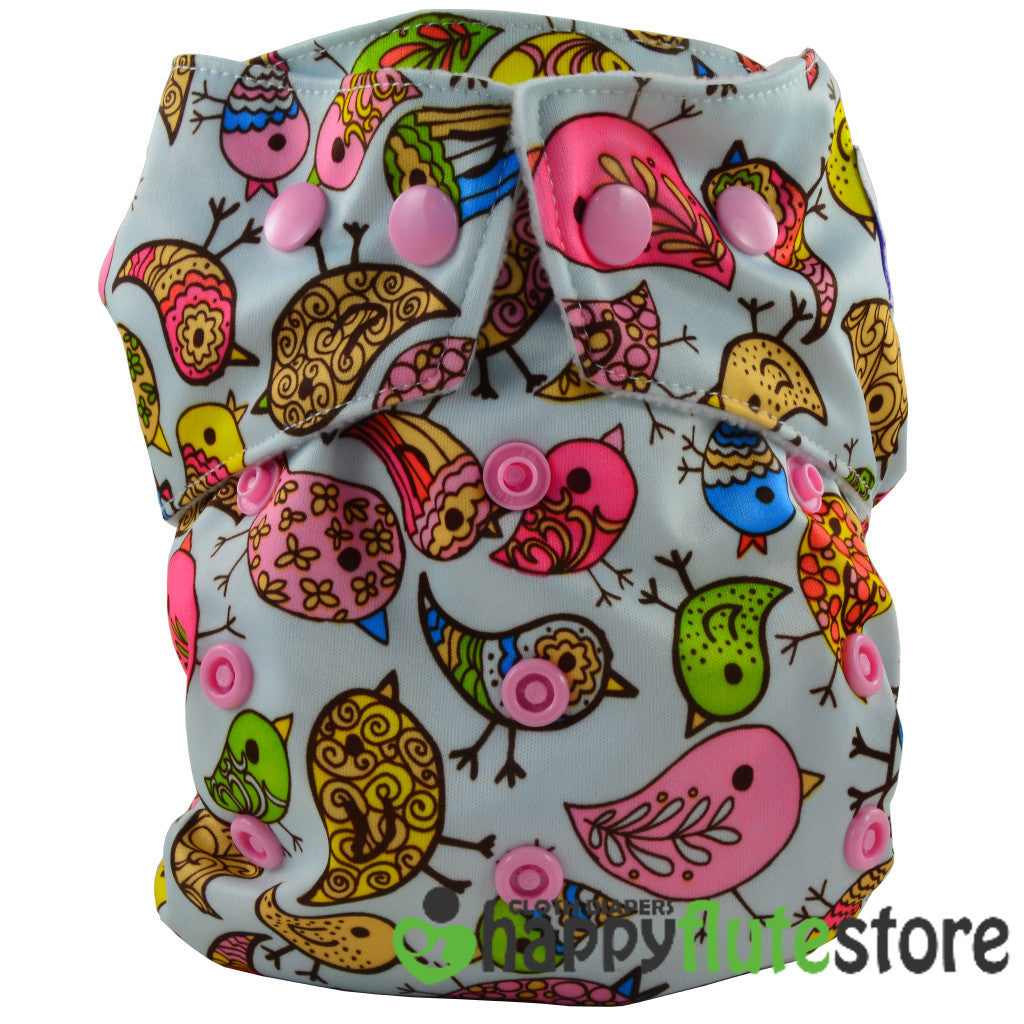 Happy Flute Heavy Wetter Cloth Diaper - Birds