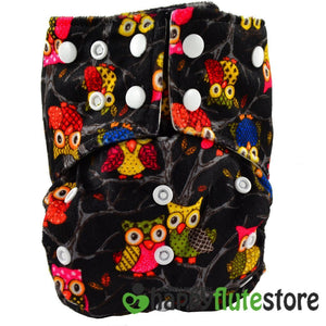 Happy Flute All in One Charcoal Bamboo Cloth Diaper - Black Owls