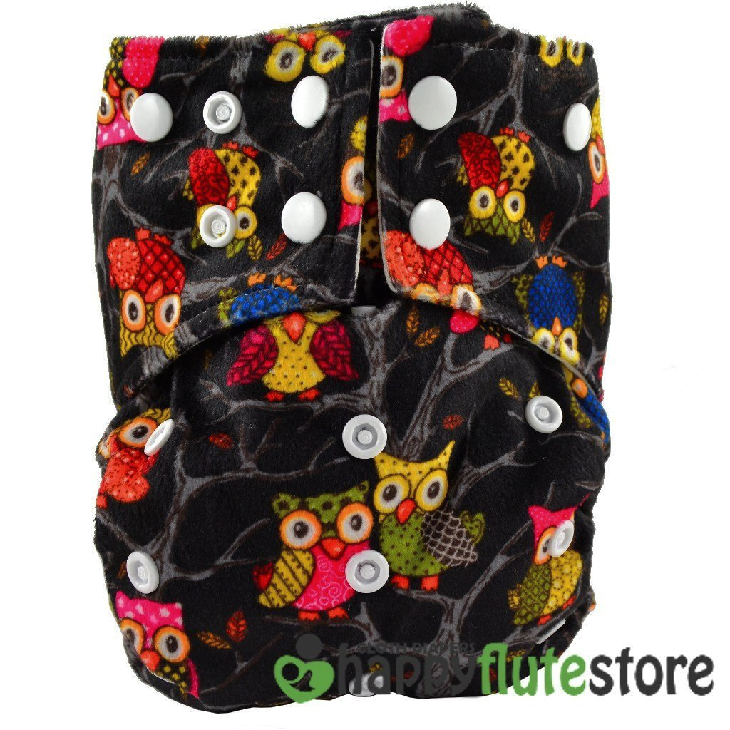 Happy Flute All in One Cotton Bamboo Cloth Diaper - Black Owls