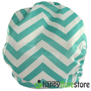 Happy Flute All in One Charcoal Bamboo Cloth Diaper - Blue Chevron (back)