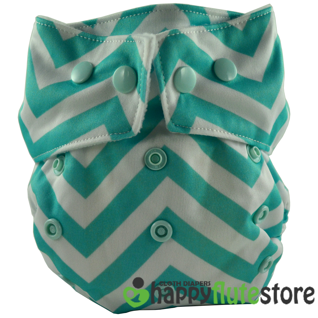 Happy Flute Heavy Wetter Cloth Diaper- Blue Chevron