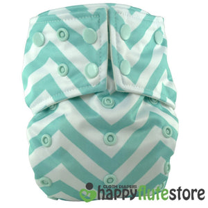 Happy Flute All in One Charcoal Bamboo Cloth Diaper - Blue Chevron