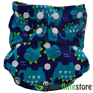 Happy Flute  All in One Charcoal Bamboo Cloth Diaper - Blue Dinos