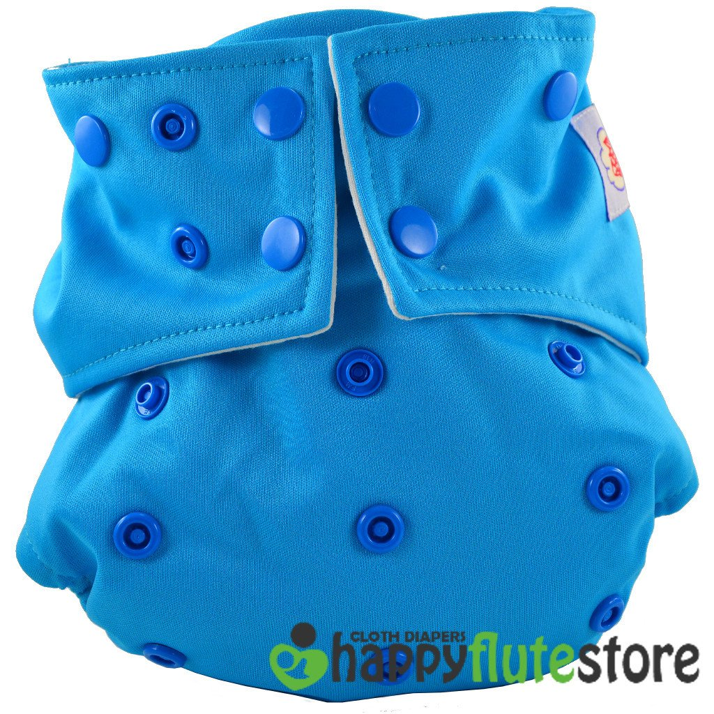 Happy Flute All in One Cotton Bamboo Cloth Diaper - Blue Ice