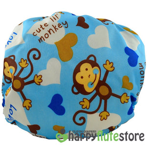 Happy Flute Pocket Cloth Diaper - Blue Monkey (back)