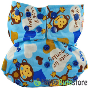 Happy Flute Pocket Cloth Diaper - Blue Monkey