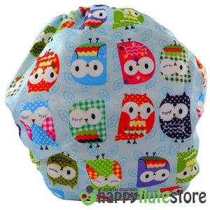 Happy Flute All in One Cotton Bamboo Cloth Diaper - Blue Owls (back)