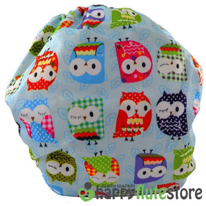 Happy Flute All in One Charcoal Bamboo Cloth Diaper - Blue Owls (back)