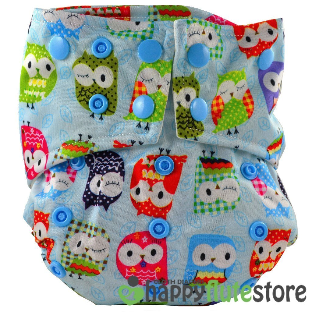 Happy Flute All in One Cotton Bamboo Cloth Diaper - Blue Owls