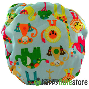 Happy Flute All in One Charcoal Bamboo Cloth Diaper - Blue Zoo (back)