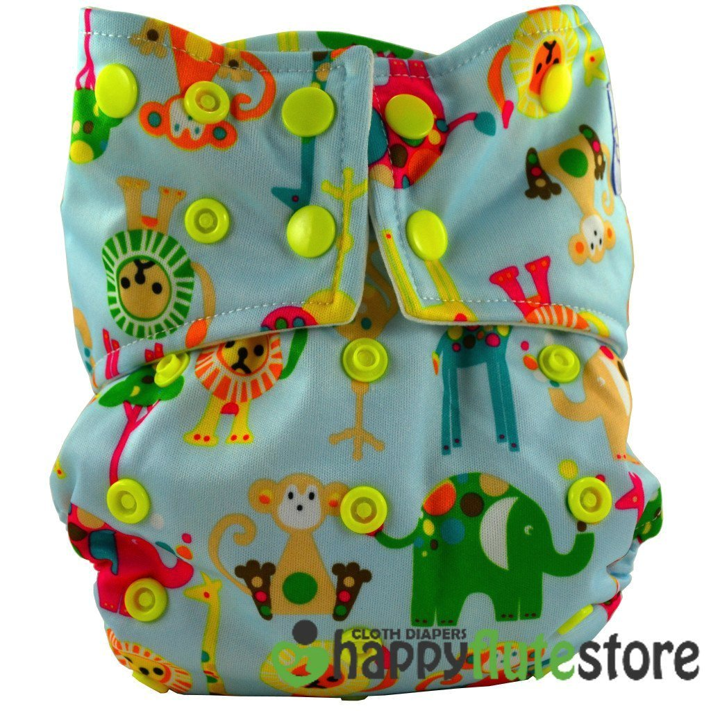 Happy Flute All in One Charcoal Bamboo Cloth Diaper - Blue Zoo (front)