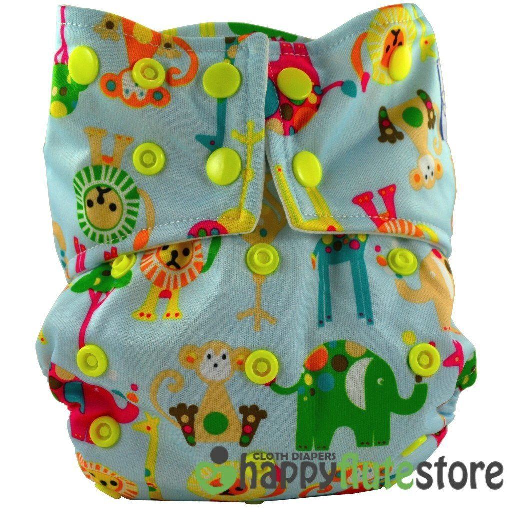 Happy Flute All in One Cotton Bamboo Cloth Diaper - Blue Zoo