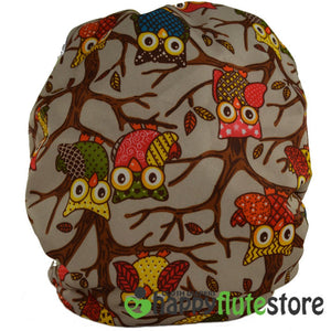 Happy Flute All in One Cotton Bamboo Cloth Diaper - Brown Owls (back)