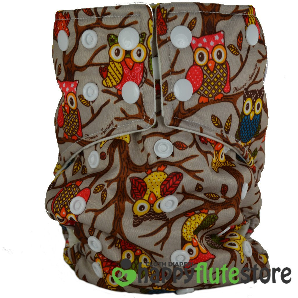 Happy Flute All in One Charcoal Bamboo Cloth Diaper - Brown Owls