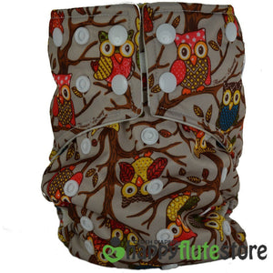 Happy Flute All in One Cotton Bamboo Cloth Diaper - Brown Owls