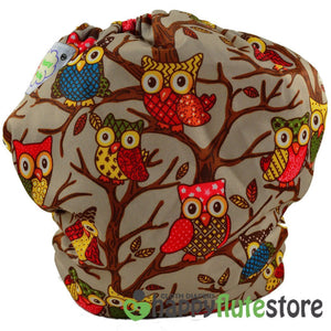 Happy Flute Heavy Wetter Cloth Diaper - Brown Owls (back)