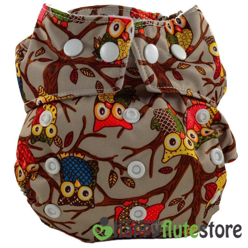 Happy Flute Heavy Wetter Cloth Diaper - Brown Owls