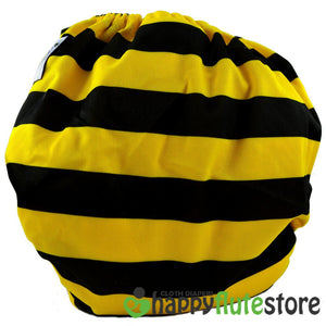 Happy Flute All in One Charcoal Bamboo Cloth Diaper - Bumble Bee (back)