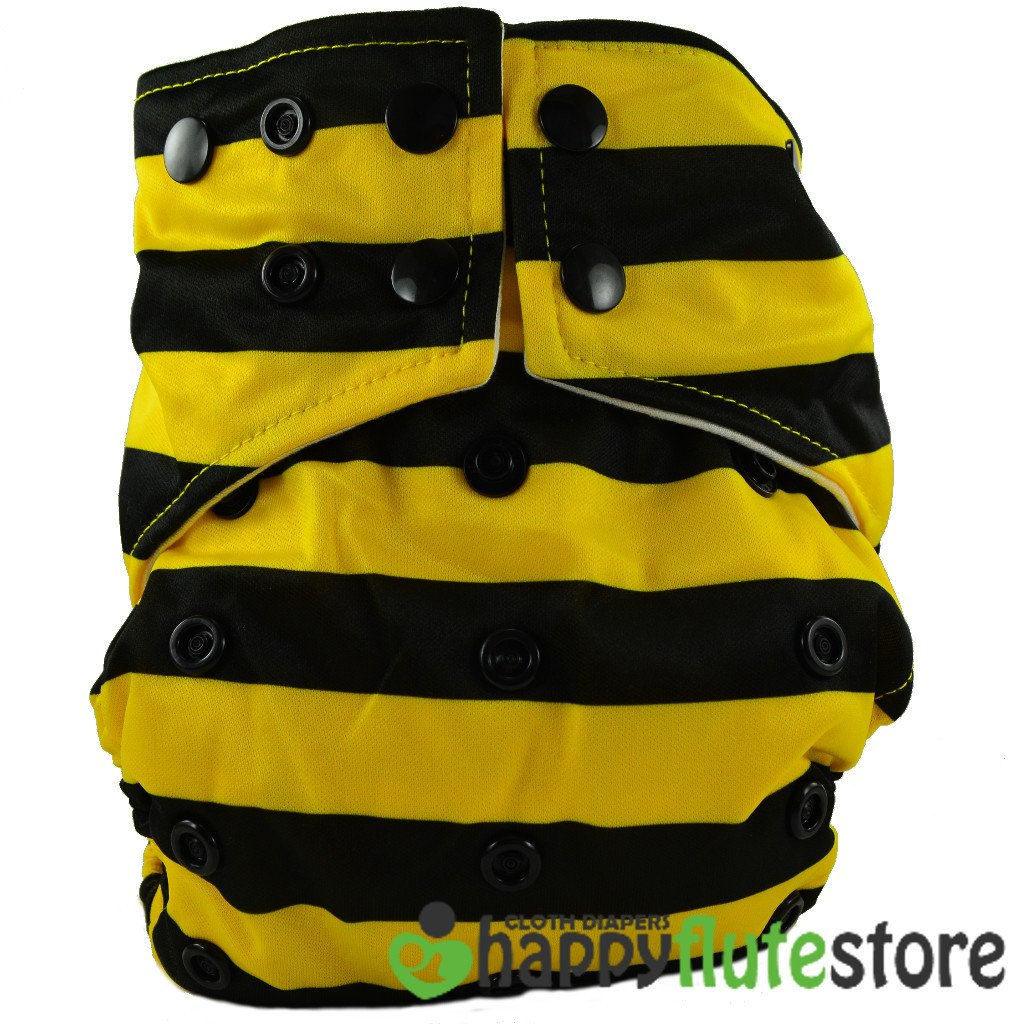 Happy Flute All in One Charcoal Bamboo Cloth Diaper - Bumble Bee