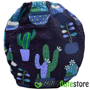 Happy Flute  All in One Charcoal Bamboo Cloth Diaper - Cactus