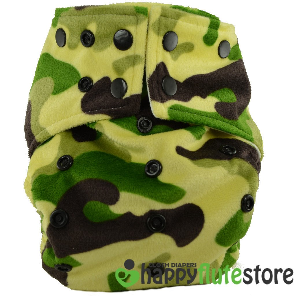 Happy Flute All in One Charcoal Bamboo Cloth Diaper - Camo