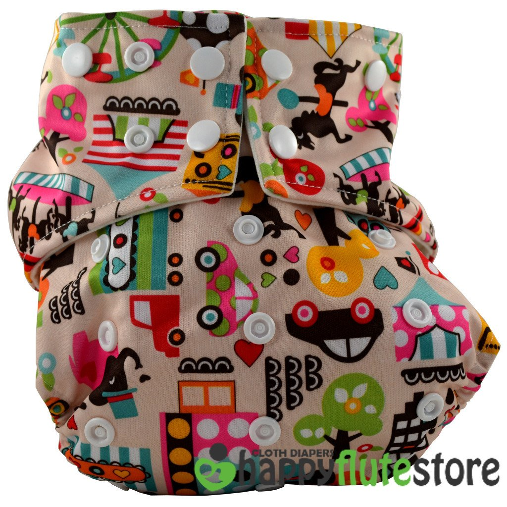 Happy Flute All in One Charcoal Bamboo Cloth Diaper - Carnival