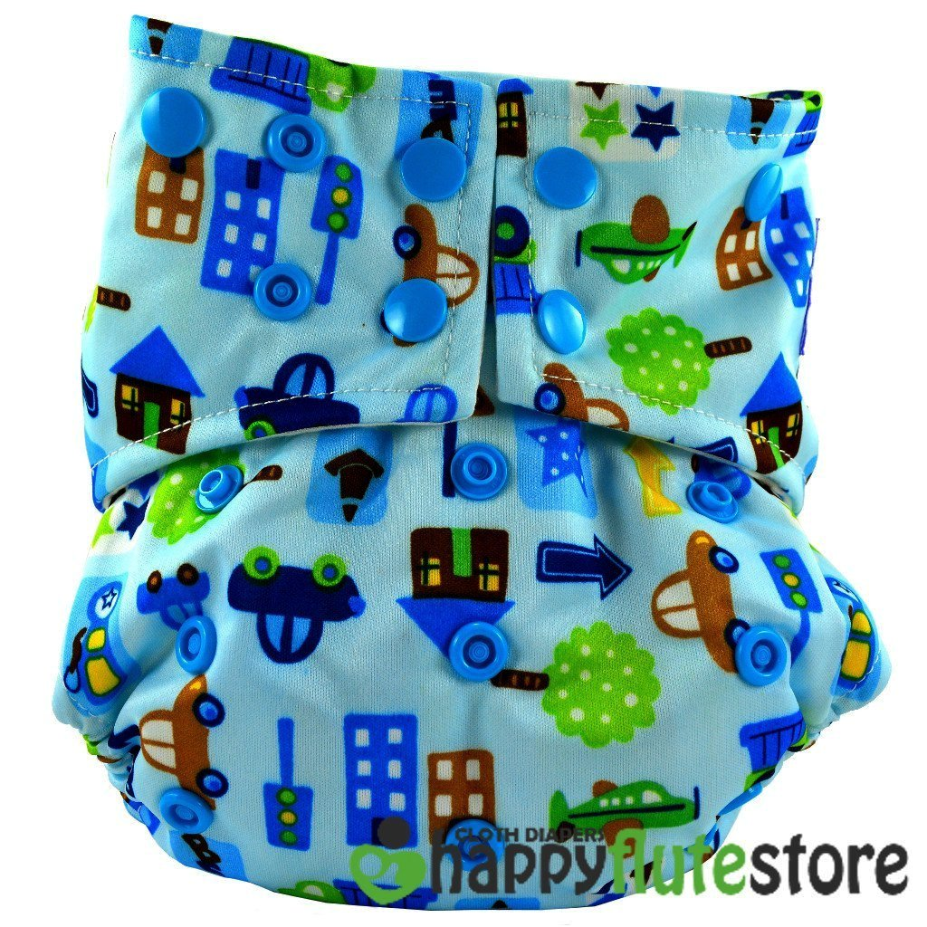 Happy Flute All in One Charcoal Bamboo Cloth Diaper - Cars