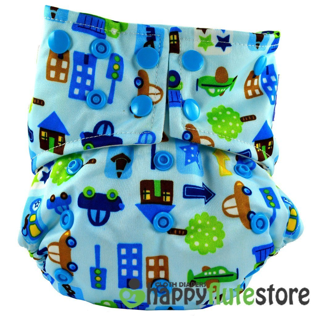 Happy Flute All in One Cotton Bamboo Cloth Diaper - Cars