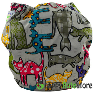 Happy Flute All in One Charcoal Bamboo Cloth Diaper - Cats (back)