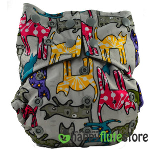 Happy Flute All in One Charcoal Bamboo Cloth Diaper - Cats