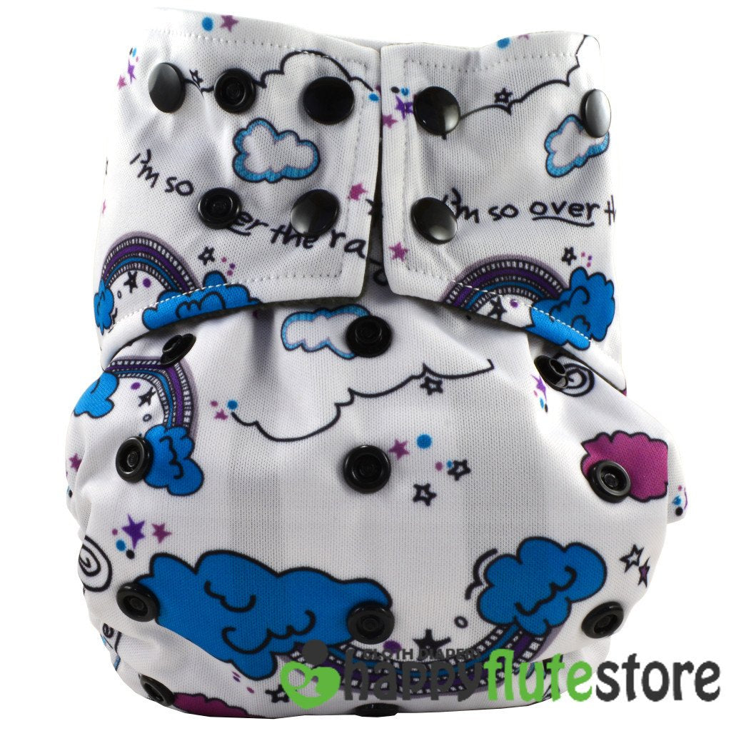 Happy Flute All in One Charcoal Bamboo Cloth Diaper - Clouds (front)