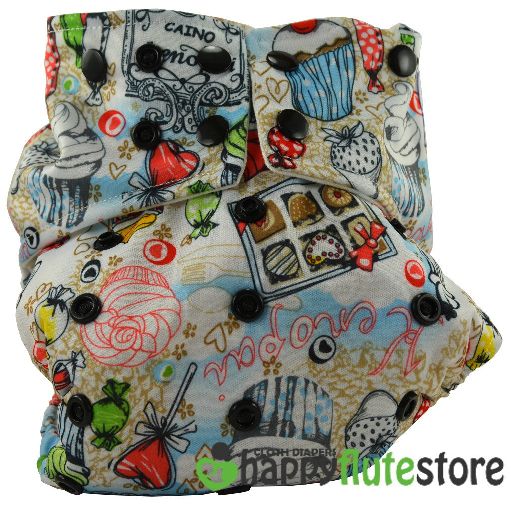 Happy Flute All in One Cotton Bamboo Cloth Diaper - Cupcake