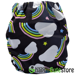 Happy Flute  All in One Charcoal Bamboo Cloth Diaper - Dark Rainbow