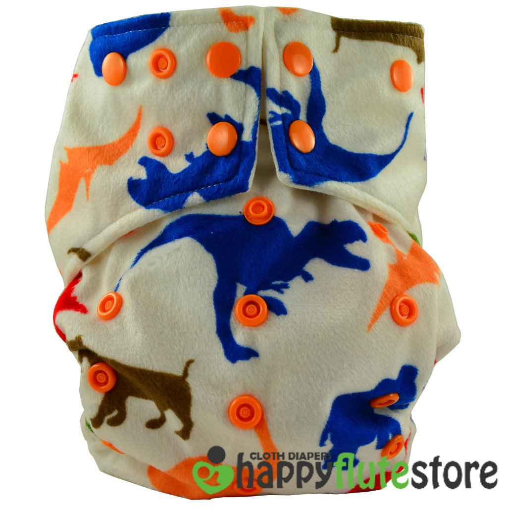 Happy Flute All in One Cotton Bamboo Cloth Diaper - Dinos