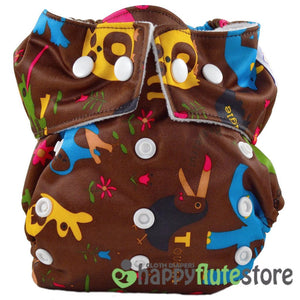 Happy Flute Heavy Wetter Cloth Diaper - Wild Animals Dark