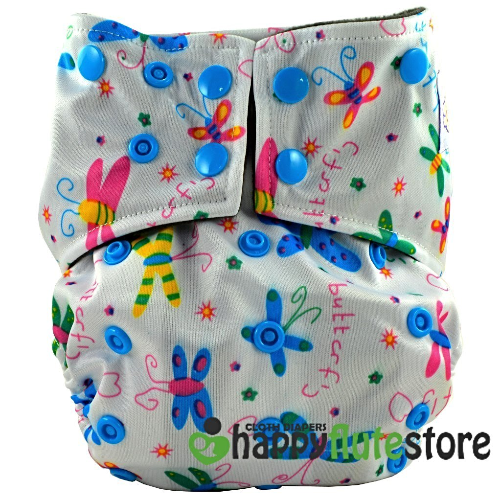 Happy Flute All in One Charcoal Bamboo Cloth Diaper - Dragonflies (front)