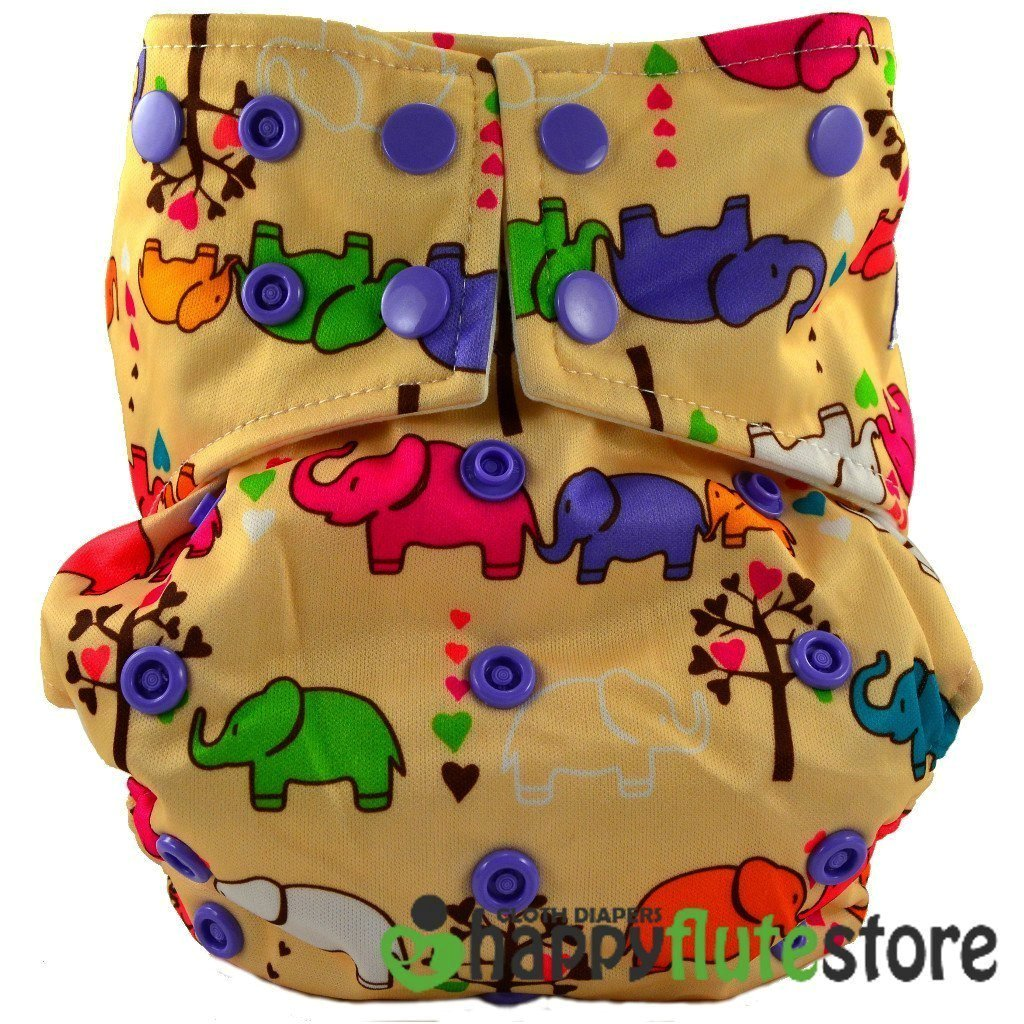 Happy Flute All in One Charcoal Bamboo Cloth Diaper - Elephants
