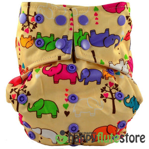 Happy Flute All in One Cotton Bamboo Cloth Diaper - Elephants